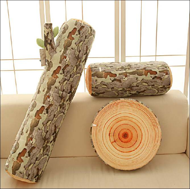 cuscino forma tronco di legno