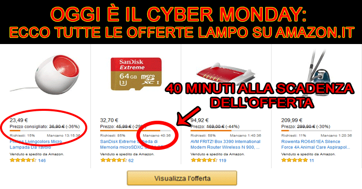 cybermonday offerte lampo amazon
