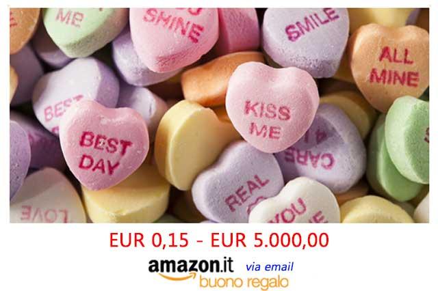 Buono regalo Amazon last minut per San Valentino inviato via email.