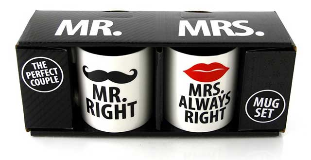 tazza originale per san valentino regalo fidanzamento mr. right mrs. always right