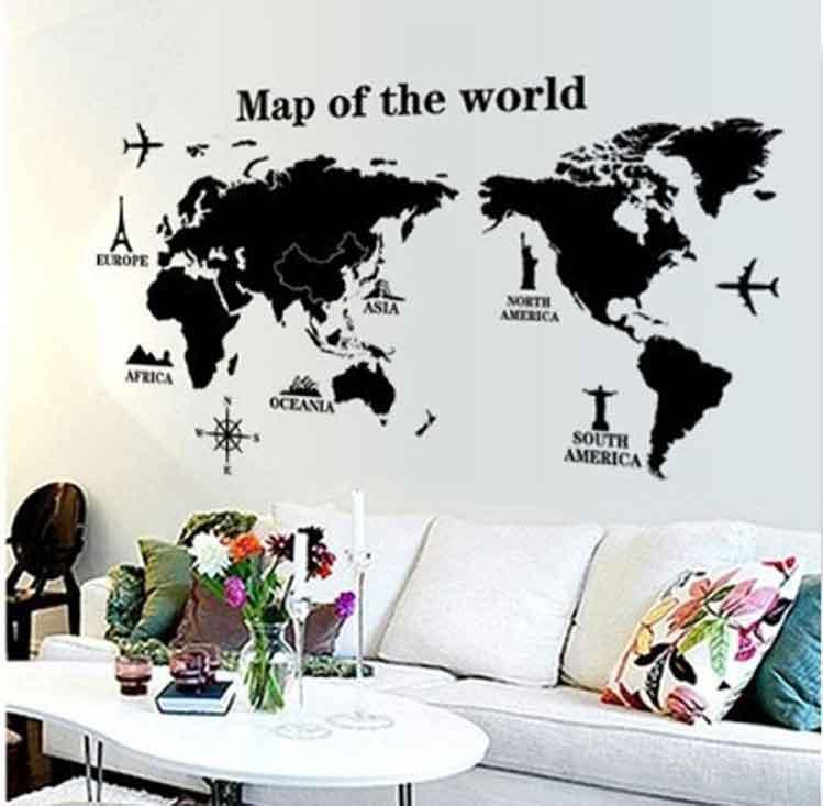 stickers da muro mappa del mondo