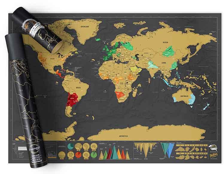 regali originali mappa viaggio cancellabile